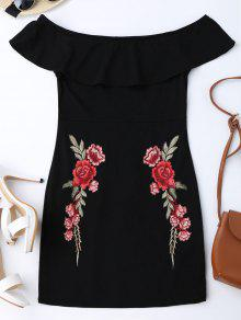 Embroidered Ruffles Off Shoulder Bodycon Dress - Black L