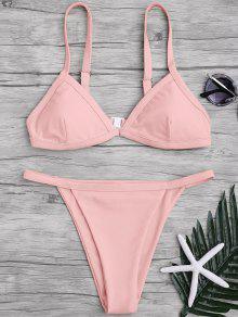 Correas De Espagueti De Color Sólido Juego De Bikini De Escote Bajo - Rosa S