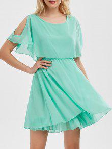 فستان الصيف شيفون باردة الكتف مصغر - اخضر فاتح L