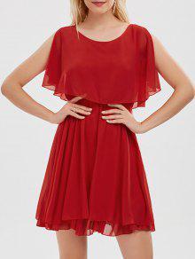 الكشكشة الشيفون البارد الكتف البسيطة اللباس - أحمر M