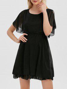 Rüsche Chiffon Kalt Schulter Mini Kleid - Schwarz M