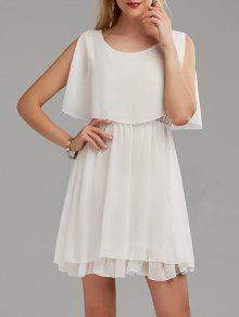 فستان الصيف شيفون باردة الكتف مصغر - أبيض S