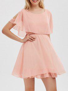 فستان الصيف شيفون باردة الكتف مصغر - زهري Xl
