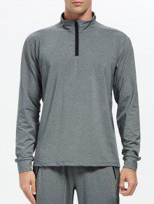 Stand Collar Half Zip Heathered Top - Gray 2xl