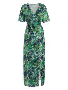 فستان ماكسي بوهيمي عالية انقسام طباعة قبلية - أخضر L