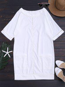 Vestido Recto Con Bolsillos Con Huecos Pequeños - Blanco M