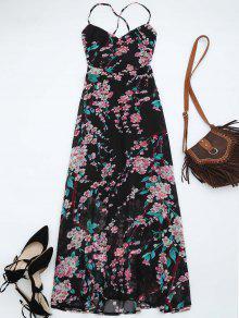 Floral Print Open Back Maxi Dress - Black Xl