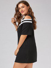 36% OFF  2019 Plus Size Stripe Panel Cold Shoulder T-shirt Dress In ... c771f6bae