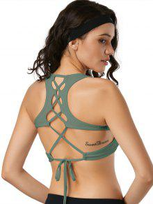 Scoop Back Lace Up Padded Sporty Bra - Army Green S