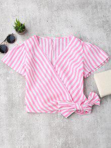Streifen Gewicktes Crop Top - Pink S