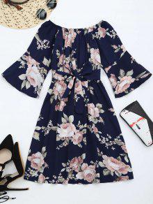 Off The Shoulder Floral Print Belted Dress - Purplish Blue Xl