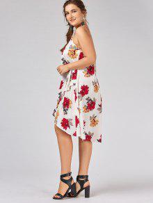 ... Plus Size Floral Overlap Tent Dress ...  sc 1 st  Zaful.com & Plus Size Floral Overlap Tent Dress WHITE: Plus Size XL   ZAFUL