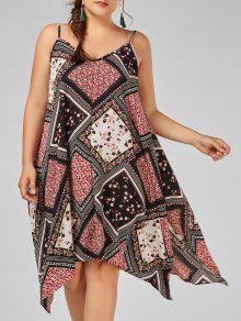فستان طباعة الأزهار المصغرة الشيفون الحجم الكبير منديل - 5xl