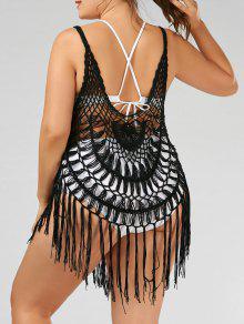 ملابس السباحة محبوك شرابة الحجم الكبير - أسود