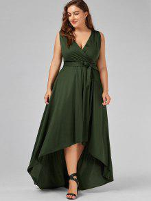 33% OFF] 2019 V Neck High Low Plus Size Prom Dress In ARMY GREEN | ZAFUL