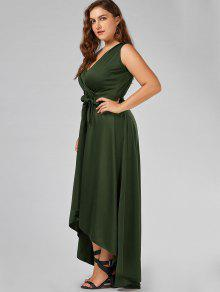 2018 V Neck High Low Plus Size Prom Dress In ARMY GREEN 5XL   ZAFUL