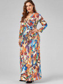 28% OFF] 2019 Printed V Neck Plus Size Floor Length Dress In ...