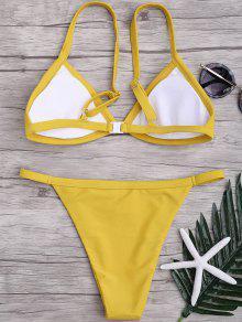 541ee2a44cdc Correas de espagueti de color sólido Conjunto de bikini de talle bajo