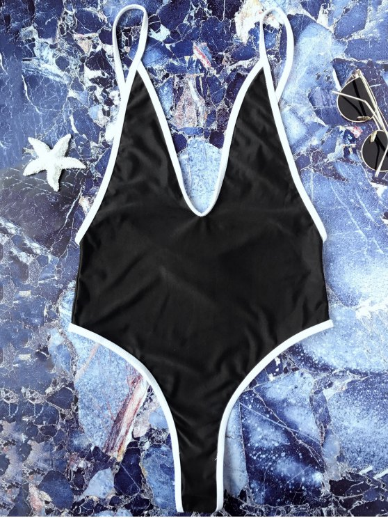 Bañador con Tiro Alto con Ribete de Contraste en una Pieza - Negro M