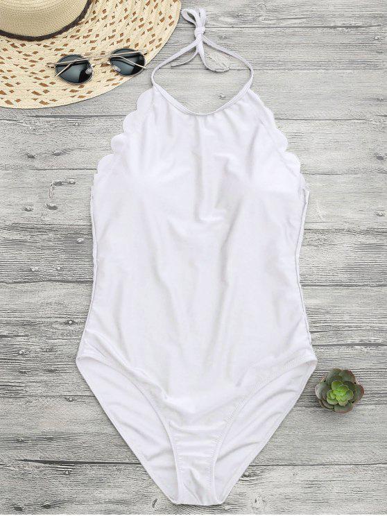 ملابس السباحة مع الياقة العالية بنمط الصدف - أبيض S