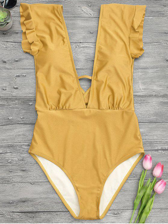 best Frilled Plunge One Piece Swimsuit - GINGER M