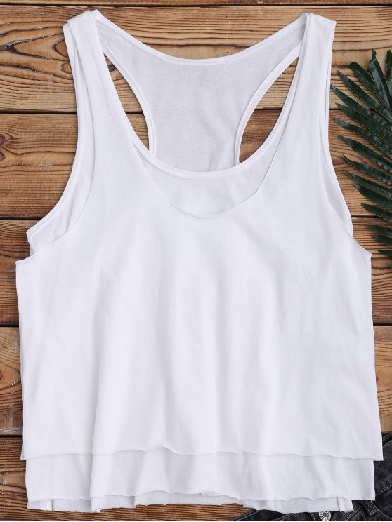 hot Layered Slit Racerback Sporty Tank Top - WHITE M