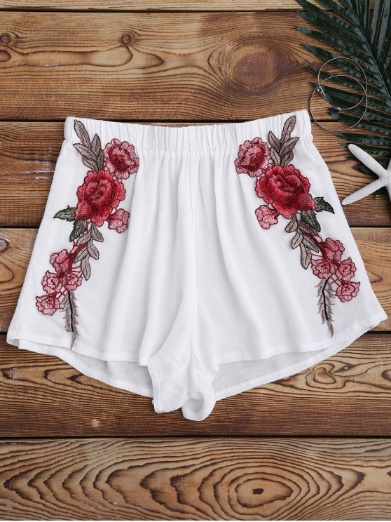 womens Elastic Waist Floral Applique Cover Up Shorts - WHITE S
