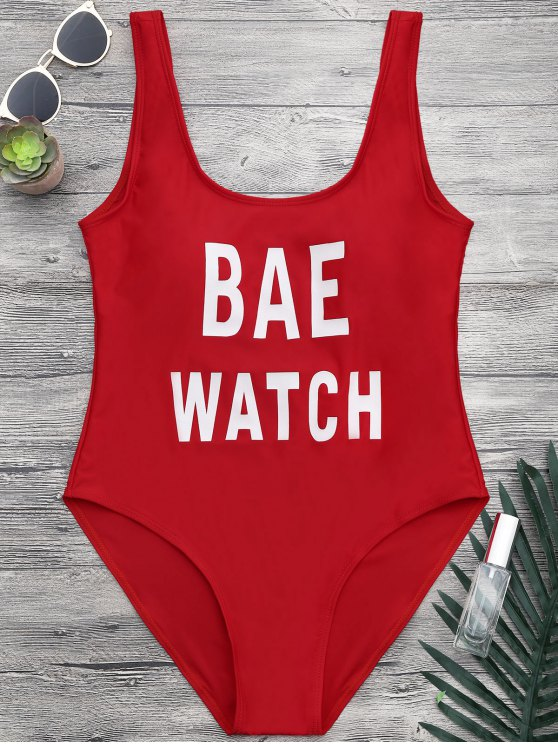 outfits Shaping Low Back One Piece Graphic Swimsuit - RED M