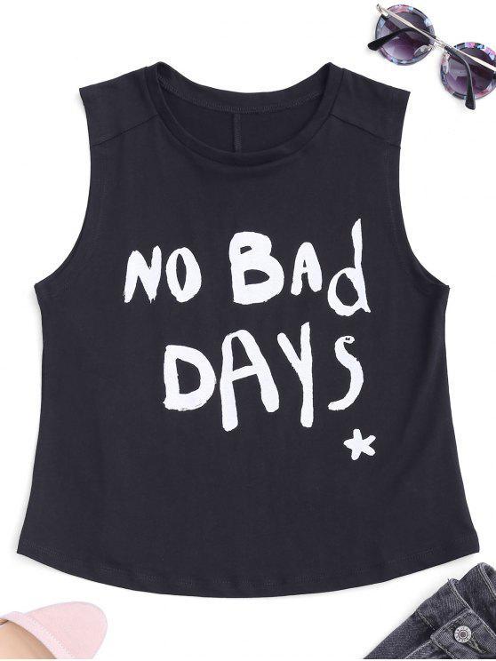 Camiseta sin mangas de la letra de Streetwear - Negro L