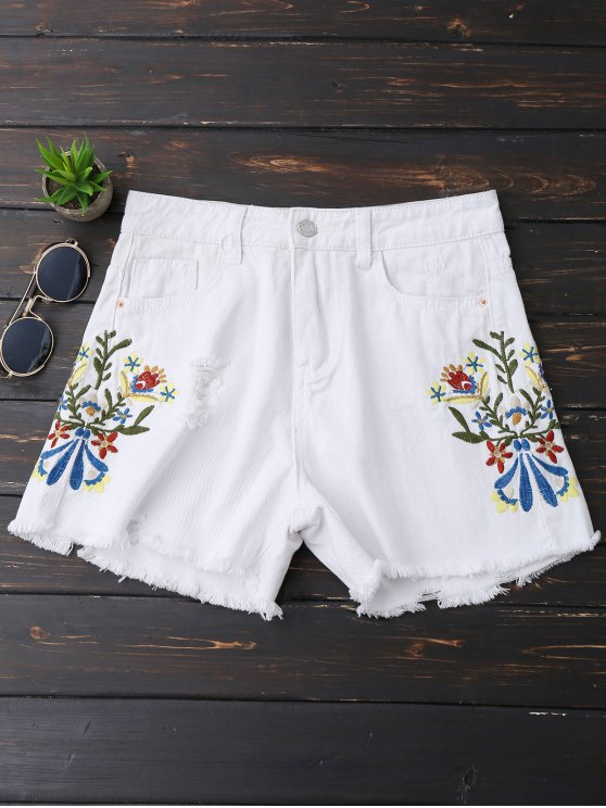 ladies Embroidered Frayed Hem Ripped Denim Shorts - WHITE L