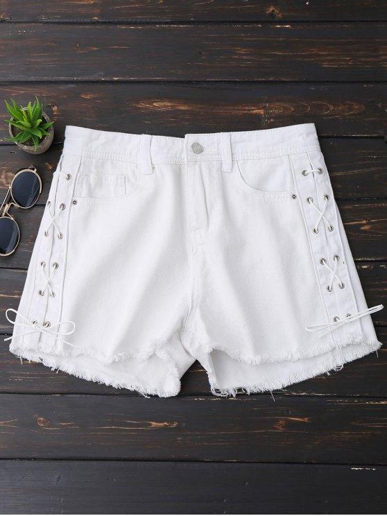 hot Frayed Hem Side Lace Up Denim Shorts - WHITE M