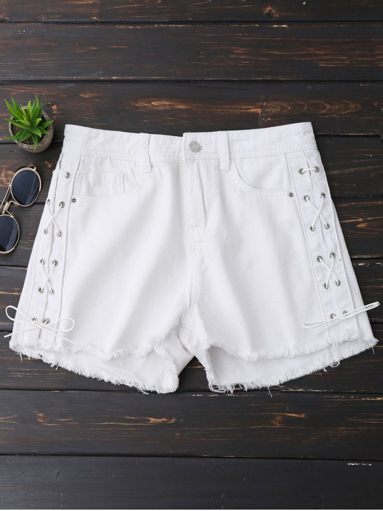 outfit Frayed Hem Side Lace Up Denim Shorts - WHITE S