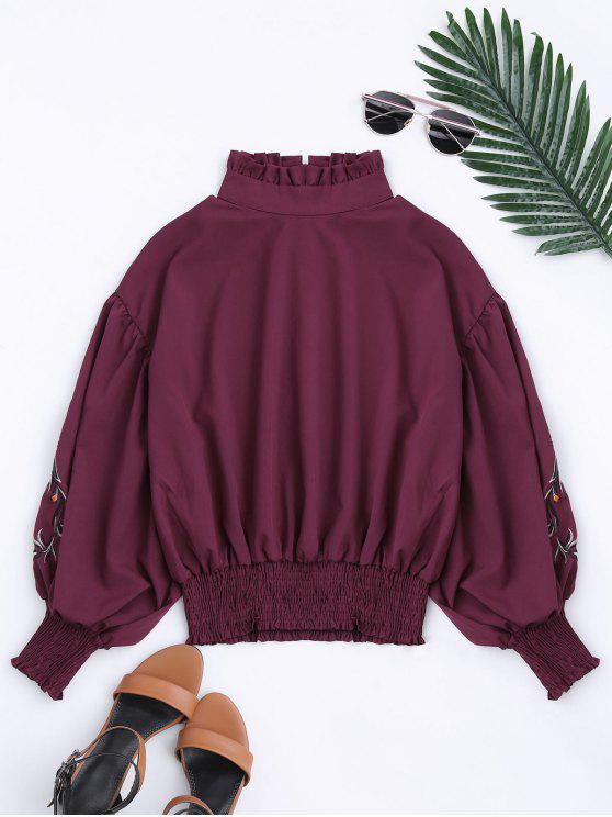 women Puff Sleeve Floral Embroidered Ruffled Blouse - DEEP RED M