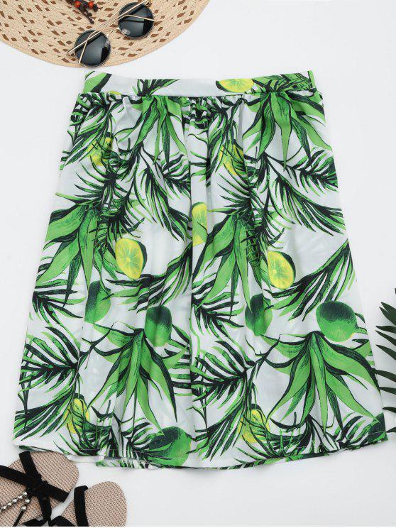 Falda de la falda de la longitud de la rodilla de la impresión de las hojas - Verde L