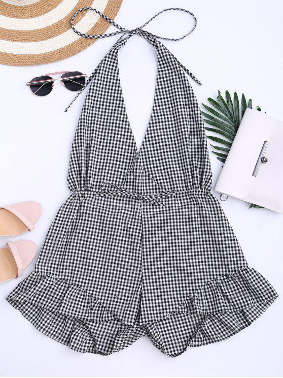 affordable Halter Open Back Ruffle Checked Romper - CHECKED XL