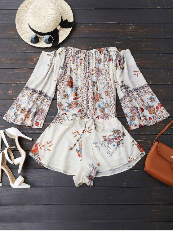 Combishorts à épaules tombantes imprimés de motif floral avce lacet - Blanc M