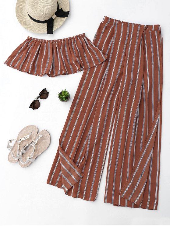 outfits Striped Tube Crop Top and High Slit Pants - BRICK-RED L