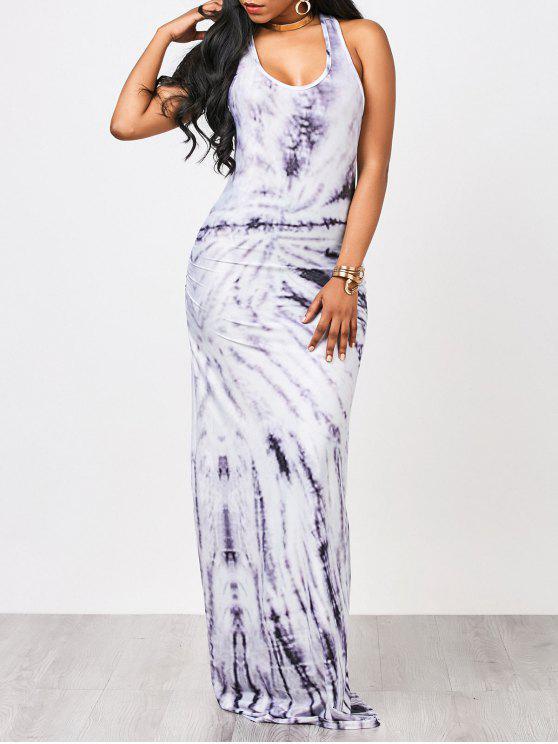 Tie Dyed Maxi vestido de tanque - Blanco + violeta S