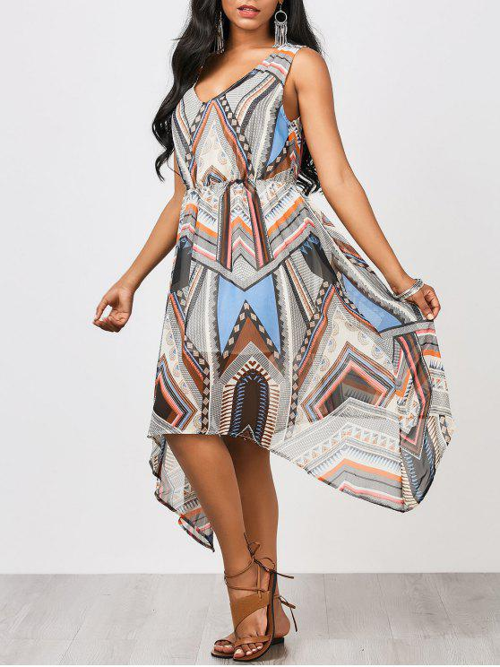 Vestido de gasa de la impresión del remiendo del dobladillo del Hanky - Multicolor L