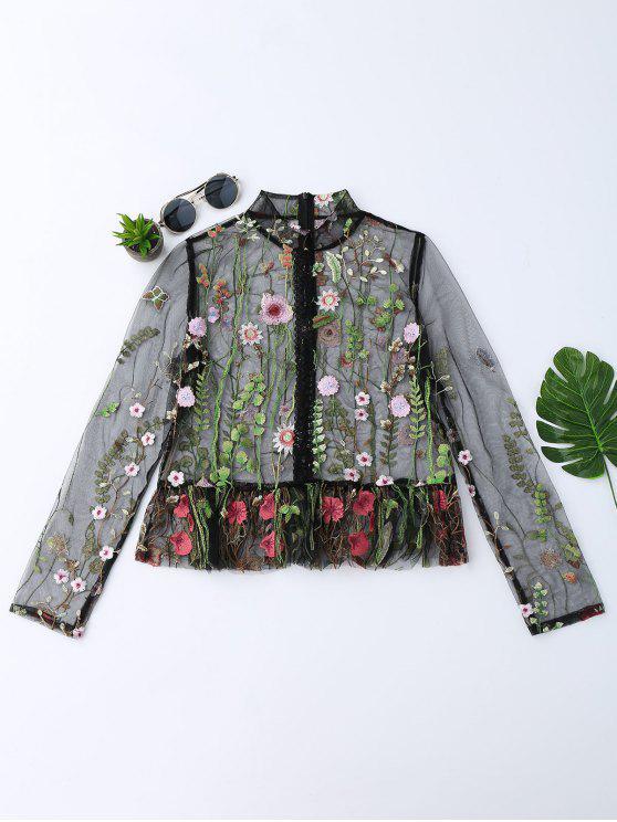 بلوزة شير شبكي مطرز بالأزهار - أسود L