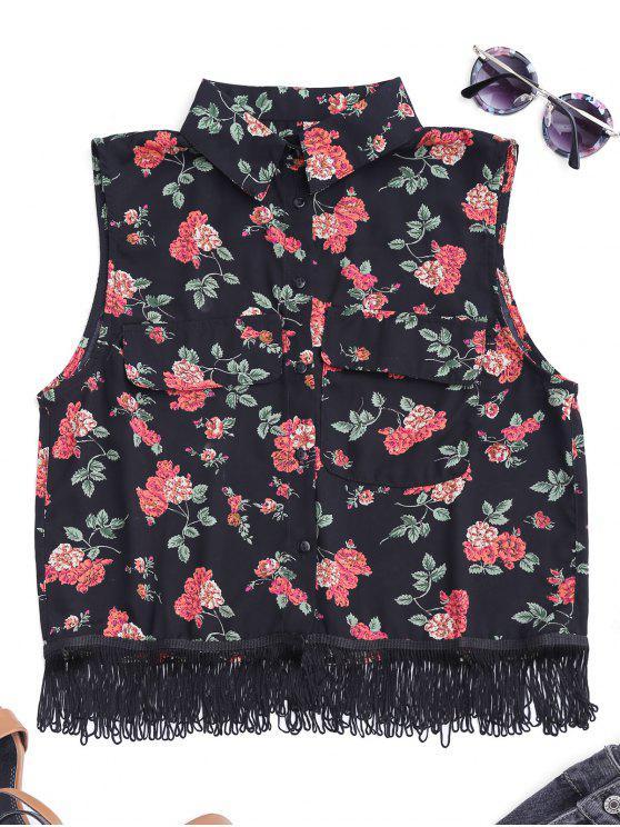 affordable Fringes Sleeveless Floral Shirt - BLACK L