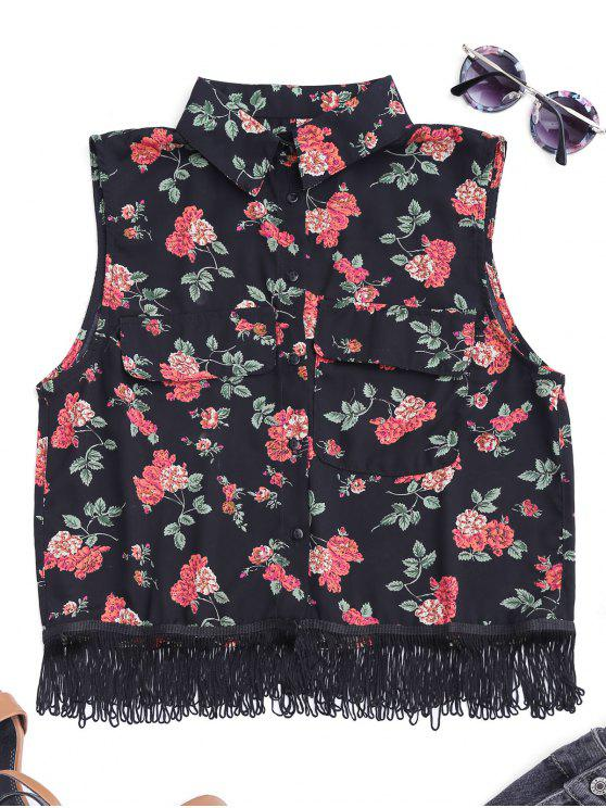 womens Fringes Sleeveless Floral Shirt - BLACK S