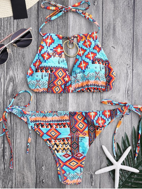 trendy Metal Tribe Pattern String Bikini Set - COLORMIX L