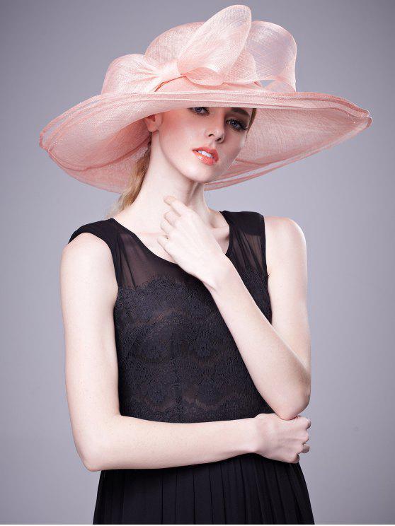 Chapeau de banquet à larges couches en boule de Cambric Bowknot - Papaye