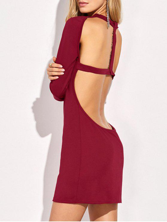 shops Long Sleeve Backless Bodycon Dress - RED S