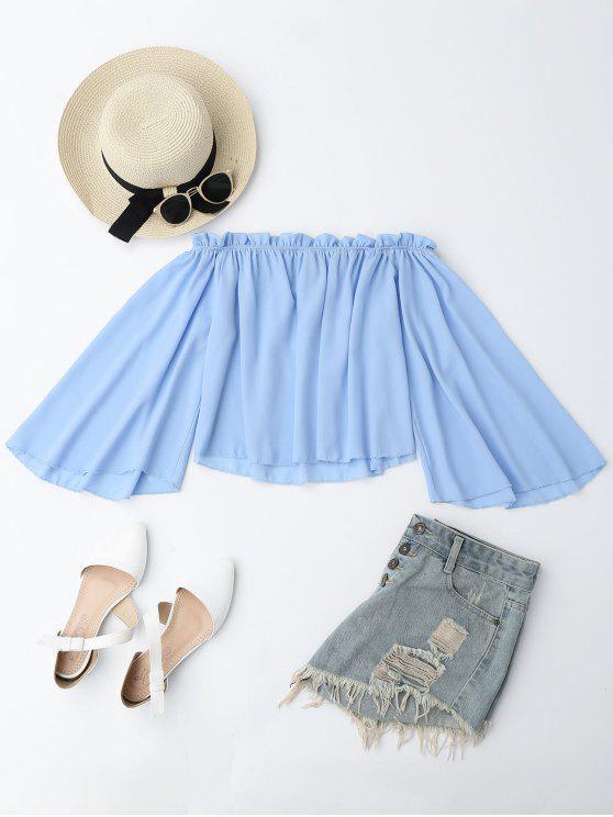 Schulterfreie Bluse mit Rüschen aus Chiffon - Hellblau M