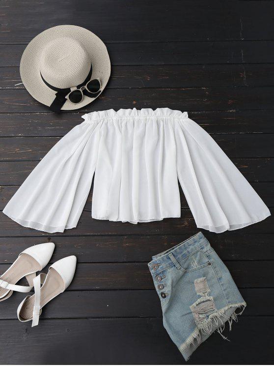 Schulterfreie Bluse mit Rüschen aus Chiffon - Weiß S