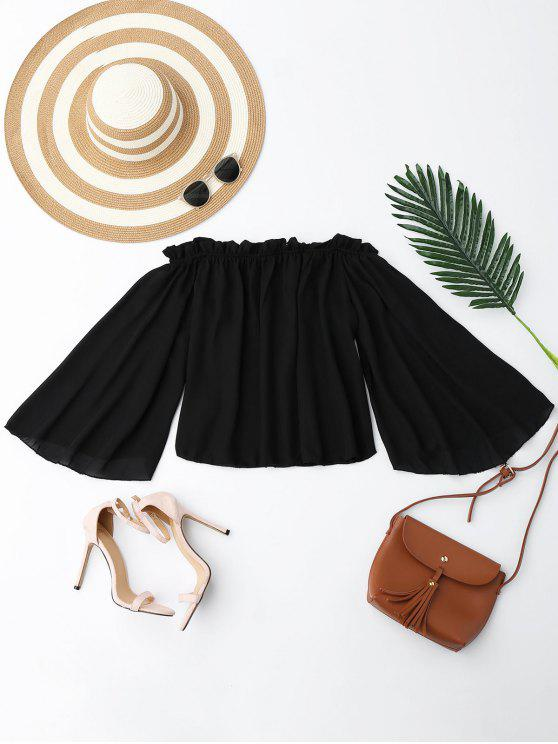 chic Chiffon Off The Shoulder Ruffles Blouse - BLACK S
