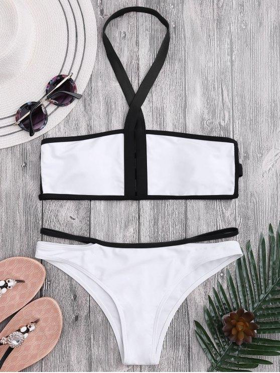 new Padded Two Tone Bandage Bikini Set - WHITE L