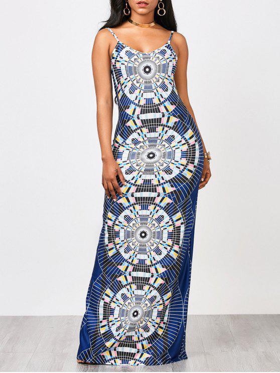 فستان مثير ماكسي طباعة هندسية - متعدد الألوان M